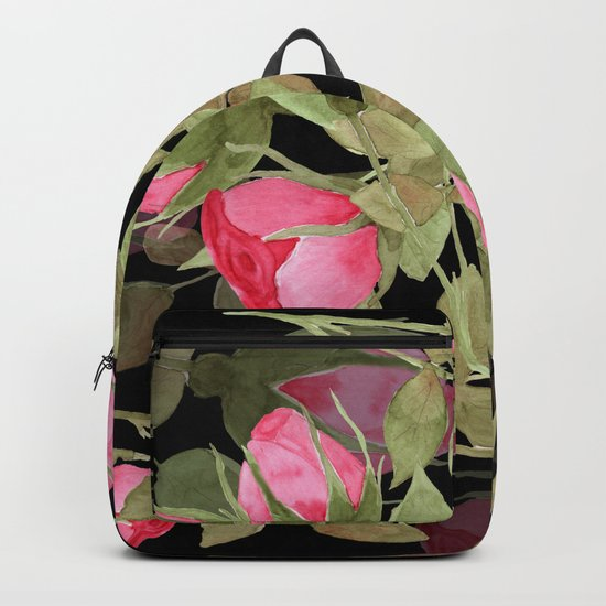 The buds of tender roses on a black background . Retro . Backpack