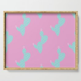 Teal Cactus w/pink background Serving Tray