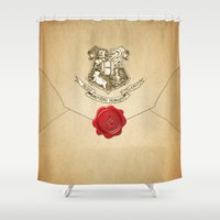 hufflepuff Shower Curtains featuring HARRY POTTER ENVELOPE by Sophie