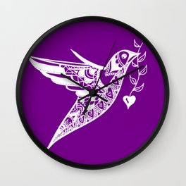 Purple and White print of a hummingbird with a love heart Wall Clock