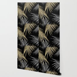 Gold Gray Palm Leaves Dream #1 #tropical #decor #art #society6 Wallpaper