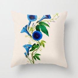 "Celestine (blue bindweed) from ""Flore d'Amérique"" by Étienne Denisse, 1840s Throw Pillow"