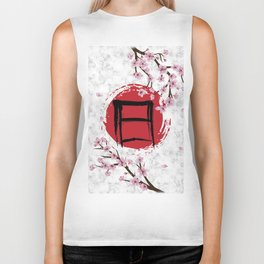 Blooming Sakura and red Sun Biker Tank