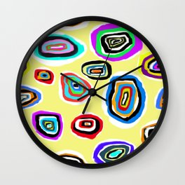 Ovals on Light Yellow Wall Clock