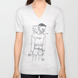A BONER, AND NOBODY TO SHARE IT WITH Unisex V-Neck
