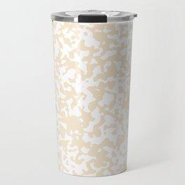 Small Spots - White and Champagne Orange Travel Mug