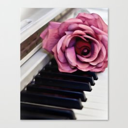 Piano Keys With Rose Canvas Print