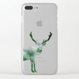 Green Forest Elk Spirit, Deer of the Woodland Clear iPhone Case