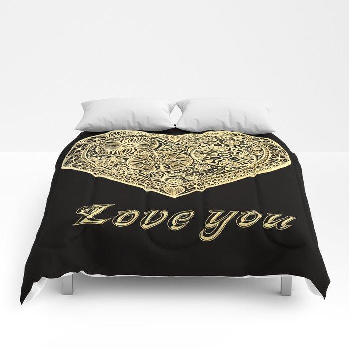 golden heart I love you Comforters
