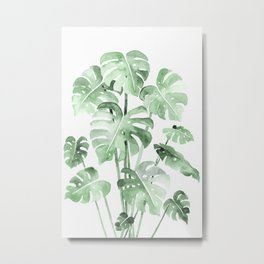 Delicate Monstera Green #society6 Metal Print