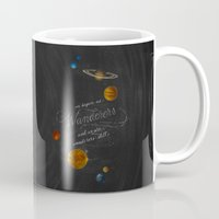 carl sagan Mugs featuring Wanderers - Carl Sagan by Casey Ligon