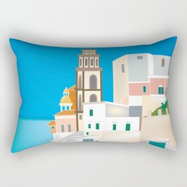 Amalfi Coast, Italy - Skyline Illustration by Loose Petals Rectangular Pillow