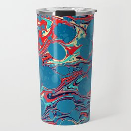 Vintage Marble Blue Watercolor Ink Abstract Pattern Travel Mug