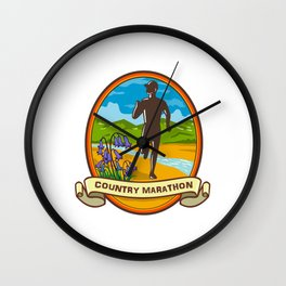 Country Marathon Run Oval Retro Wall Clock