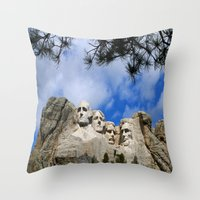 rushmore Throw Pillows featuring Mount Rushmore by Christiane W. Schulze Art and Photograph