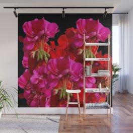 Red & Fuchsia Geranium flowers Wall Mural