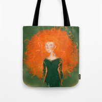 pixar Tote Bags featuring Merida from Brave (Pixar - Disney) by Delucienne Maekerr