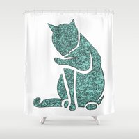 sassy Shower Curtains featuring Sassy Cat by Rudi Rodebush