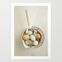 Organic eggs from Easter egger chicken Art Print
