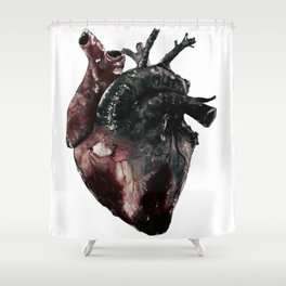 Anatomical Heart - inspired by 5 Seconds of Summer's Jet Black Heart Shower Curtain