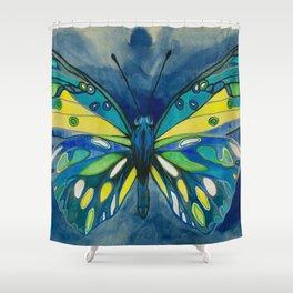Indigo Butterfly Shower Curtain