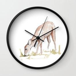 Deer Fawn Watercolor Painting Wall Clock