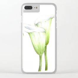 White Calla Lillies Clear iPhone Case