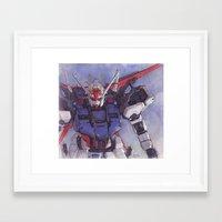 gundam Framed Art Prints featuring Strike Gundam by Hector Trunnec