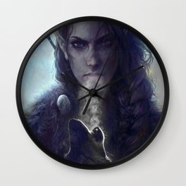 Native American and the Wolf Wall Clock