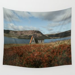 Cabin in the Westfjords of Iceland Wall Tapestry