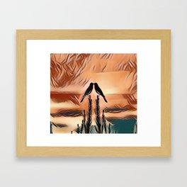 Two LoveBirds Greeting the Early Morning Sunrise Framed Art Print