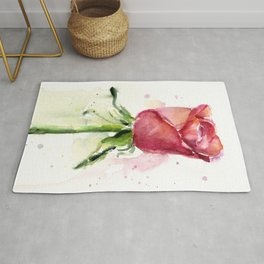 Rose Watercolor Red Flower Painting Floral Flowers Rug
