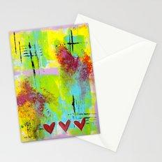 Three Hearts Abstract Stationery Cards