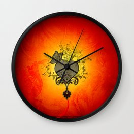 Wonderful heart with butterflies Wall Clock