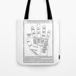 Black and White Vintage Palmistry Illustration Tote Bag
