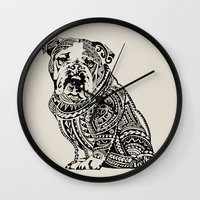 english bulldog Wall Clocks featuring Polynesian English Bulldog by Huebucket