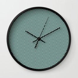 Mint Green black and White Eye buster Chevron Wall Clock