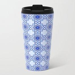 Blue Octograms Rug Metal Travel Mug