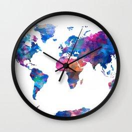 world map watercolor 2 Wall Clock