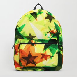 Bright glowing marsh golden stars on a light background in the projection. Backpack