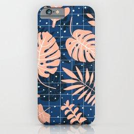 Pastel Botanical Prints Collage on Deep Blue Texture iPhone Case