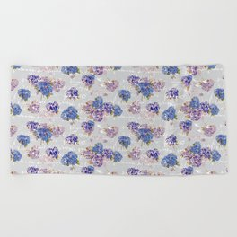 Hydrangeas and French Script with birds on gray background Beach Towel