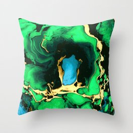 Gold green and black Marble texture acrylic paint art Throw Pillow