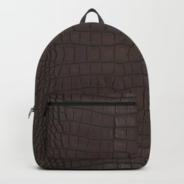 Alligator Brown Leather Print Backpack