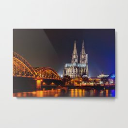 Cologne Cathedral at night Metal Print