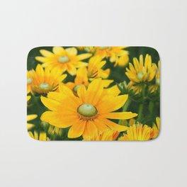 GOLDEN YELLOW  FLOWERS  GARDEN Bath Mat