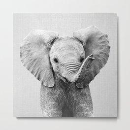 Baby Elephant - Black & White Metal Print