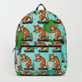 Cartoon ginger cat weights workout Backpack