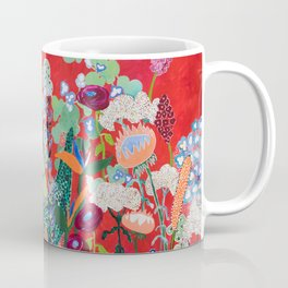 Red floral Jungle Garden Botanical featuring Proteas, Reeds, Eucalyptus, Ferns and Birds of Paradise Coffee Mug