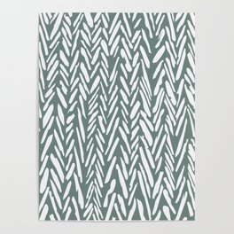 Boho chevron herringbone pattern - moss green and white Poster